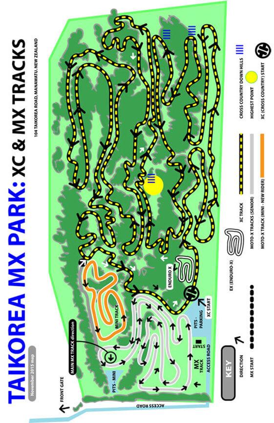 Taikorea Motor Cycle Park Dirt Biking Map