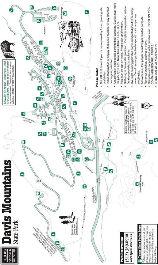 Davis Mountains State Park Hiking Map
