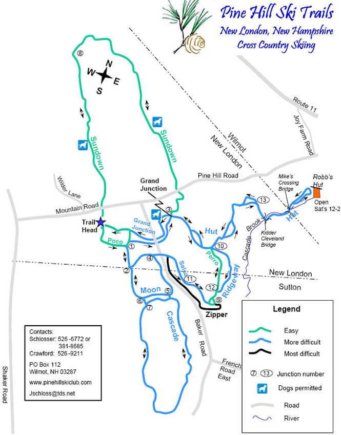 Pine Hill XC Ski Club Cross Country Skiing Map