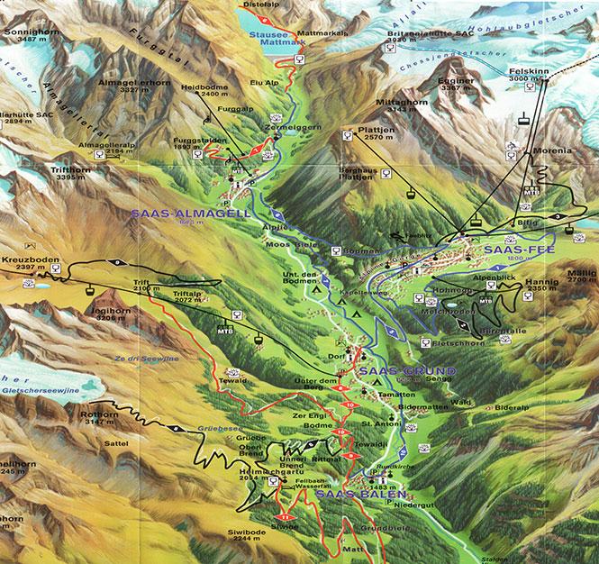 Saastal Mountain Biking Map