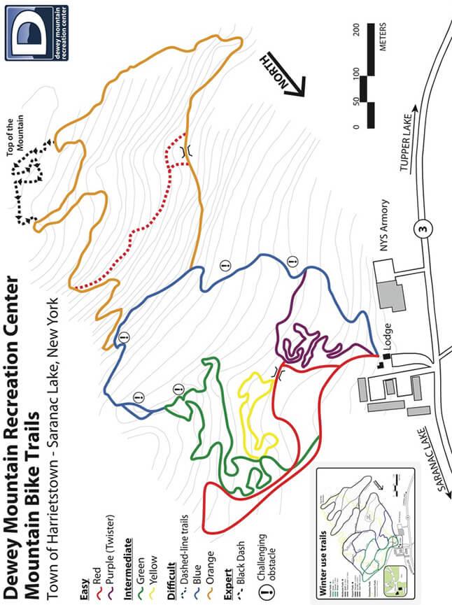 Dewey Mountain X-C Ski Center Cross Country Skiing Map