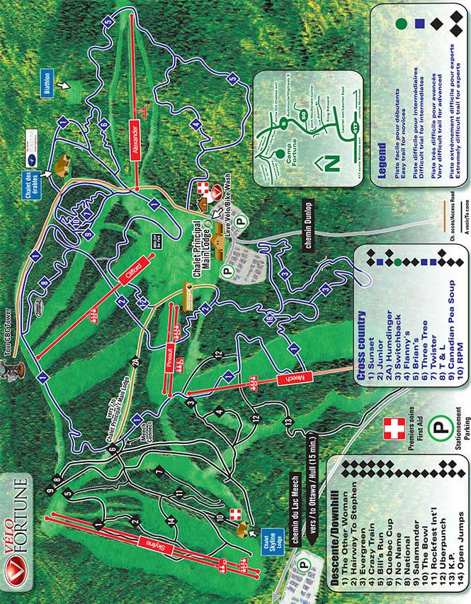 Camp Fortune Ski Area Mountain Biking Map