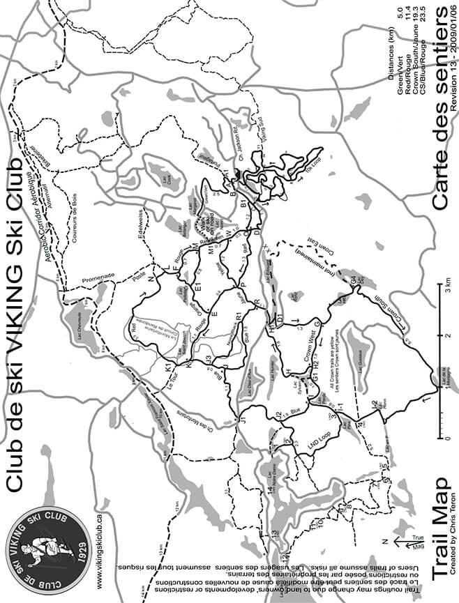 Viking Ski Club Cross Country Skiing Map