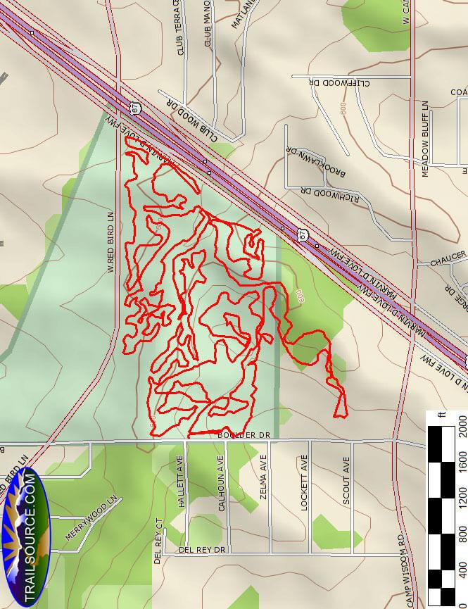 Boulder Park Mountain Biking Map