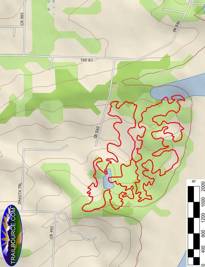 Sister Grove Park Mountain Biking Map
