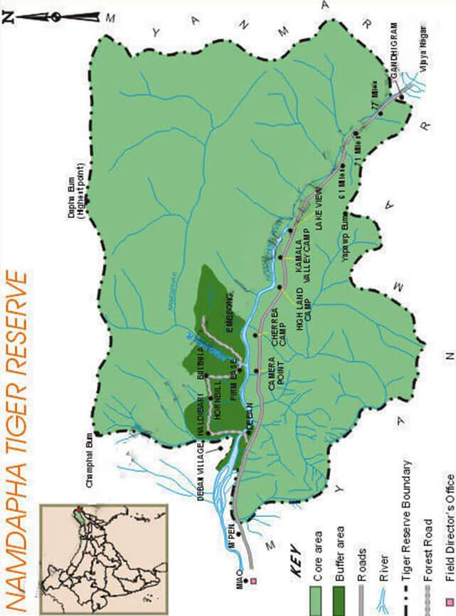 Namdapha National Park Hiking Map