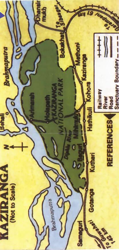Kaziranga National Park Hiking Map