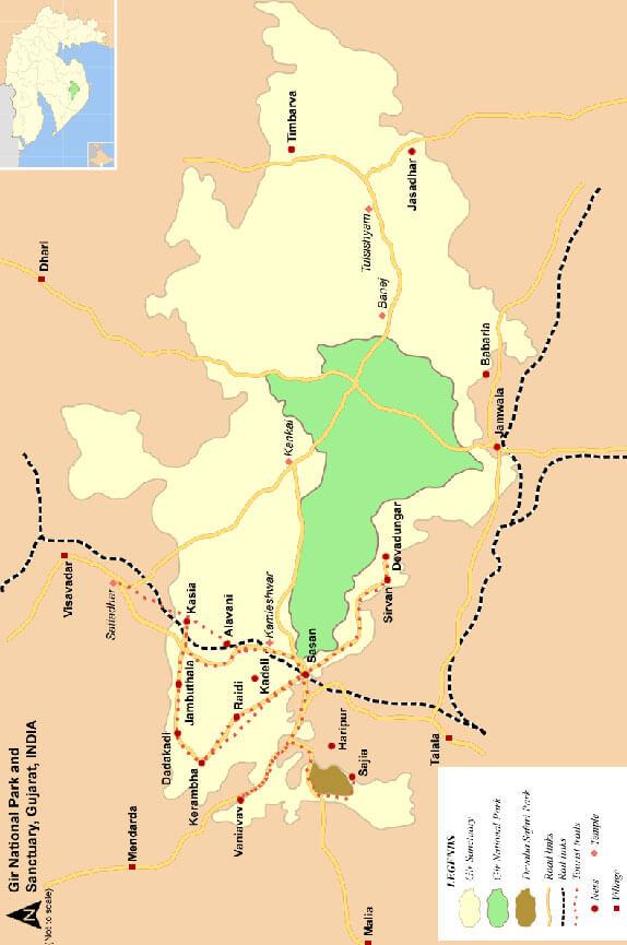 Gir National Park Hiking Map