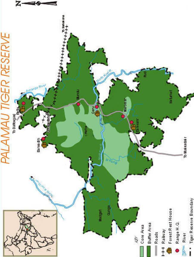 Palamu National Park Hiking Map