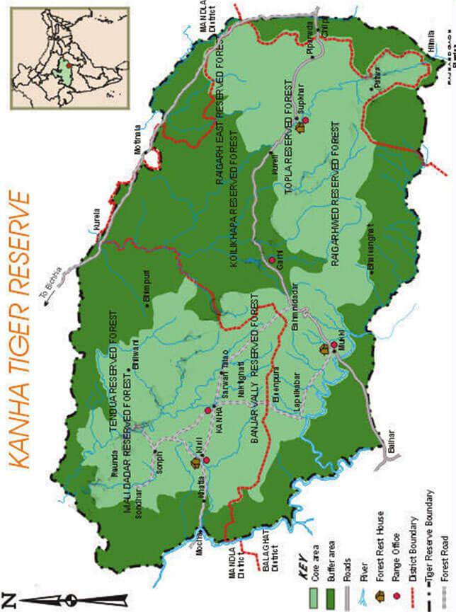 Kanha National Park Hiking Map