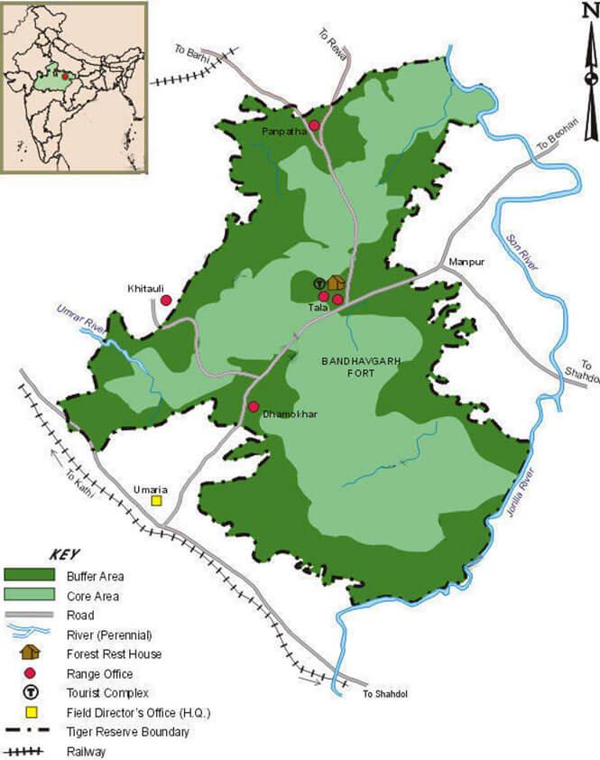 Bandhavgarh National Park Hiking Map