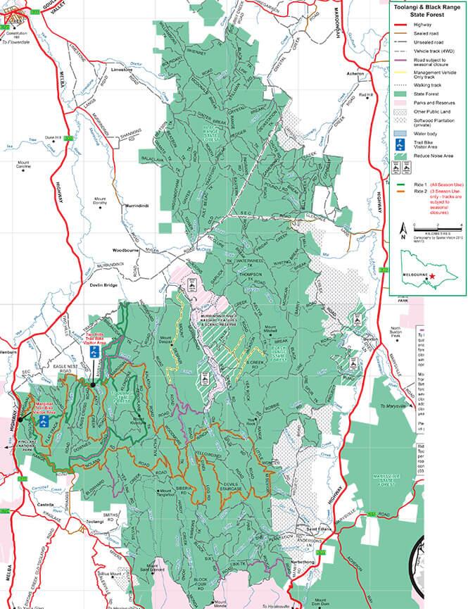 Toolangi-Black Range State Forest Dirt Biking Map