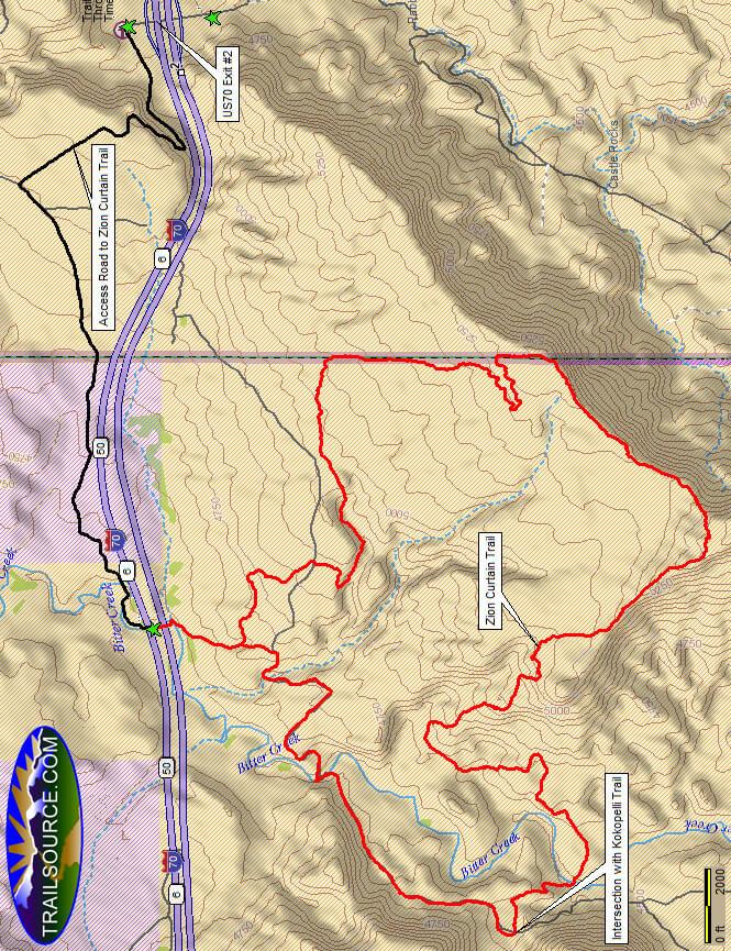Zion Curtain Mountain Biking Map