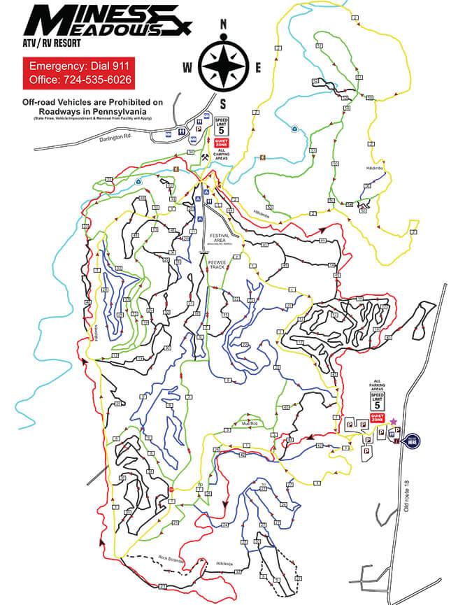 Mines and Meadows ORV Resort Dirt Biking Map