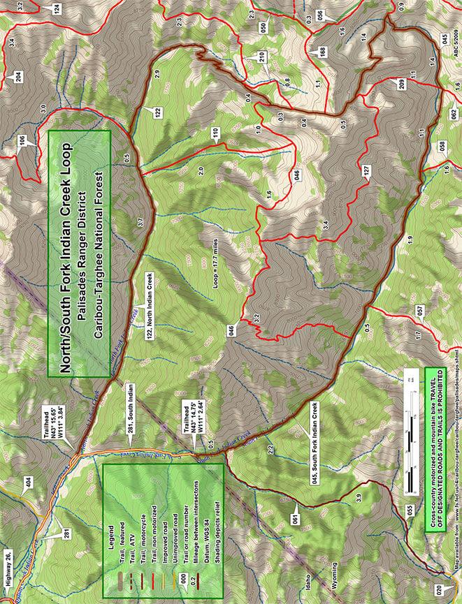 North/South Indian Creek Loop Dirt Biking Map