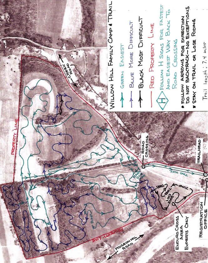 Willow Hill Family ORV Trails Dirt Biking Map