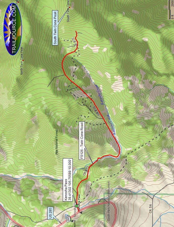 Kenosha Pass - Twin Cone Road Dirt Biking Map