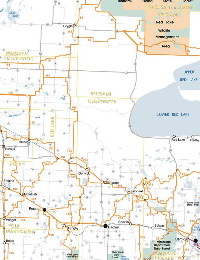 Bemidji / Red Lake West Snowmobiling Map