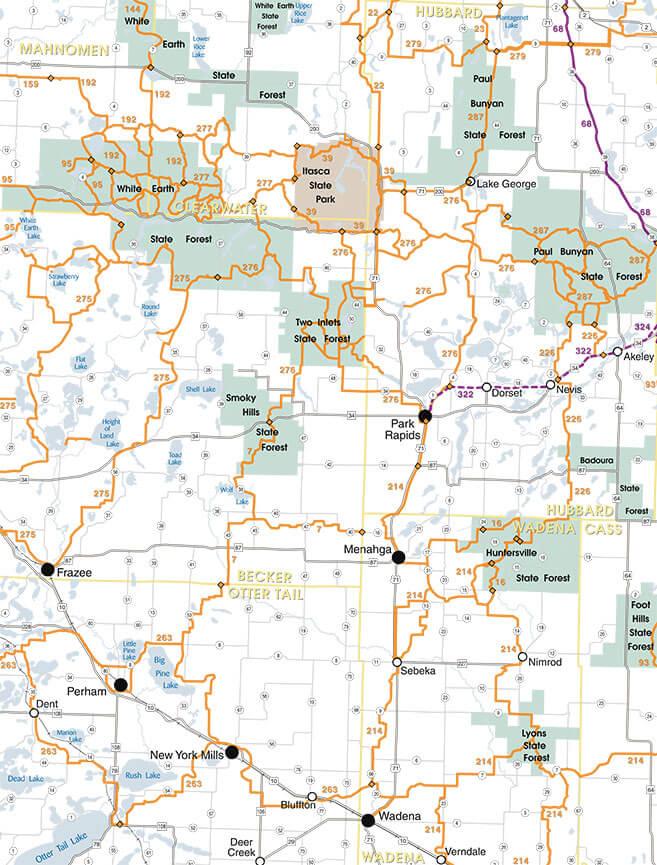 Park Rapids Snowmobiling Map