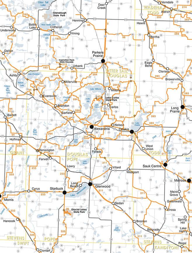 Alexandria Snowmobiling Map