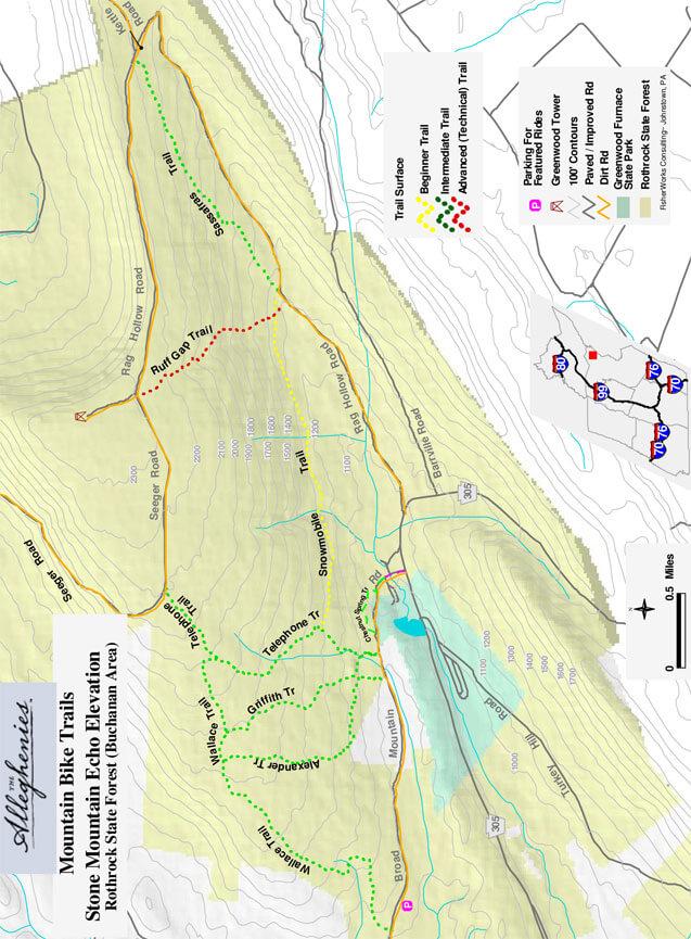 Stone Mountain Echo Mountain Biking Map