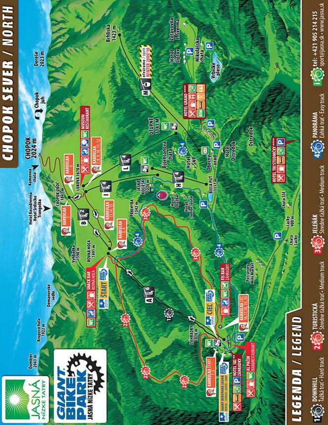 Jasna Ski Area Mountain Biking Map