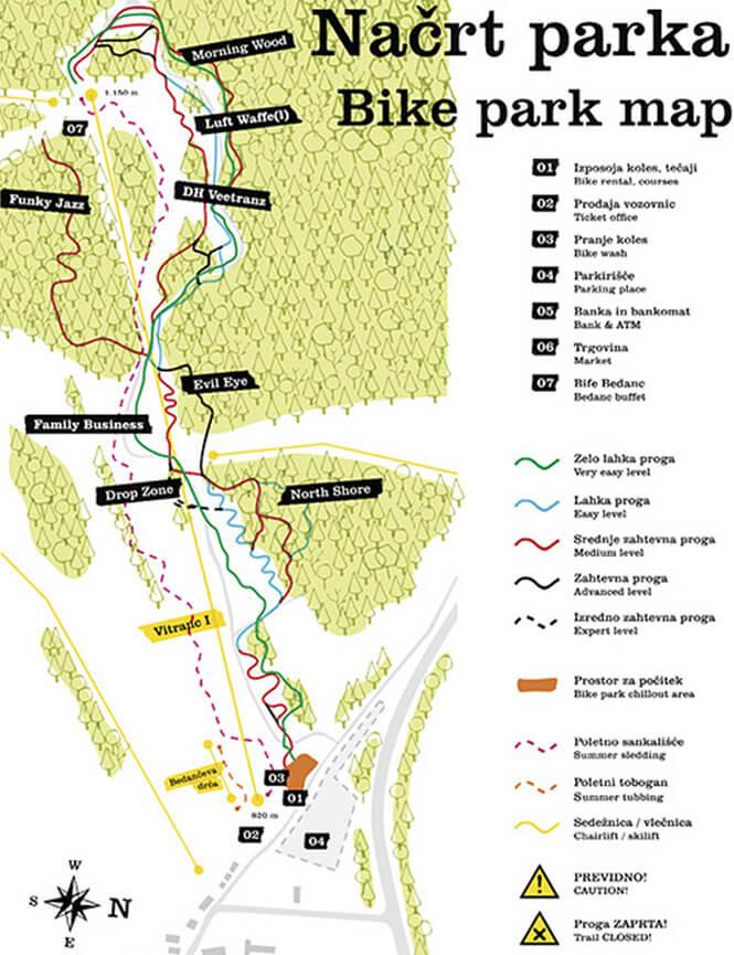 Kranjska Gora Ski Area Mountain Biking Map