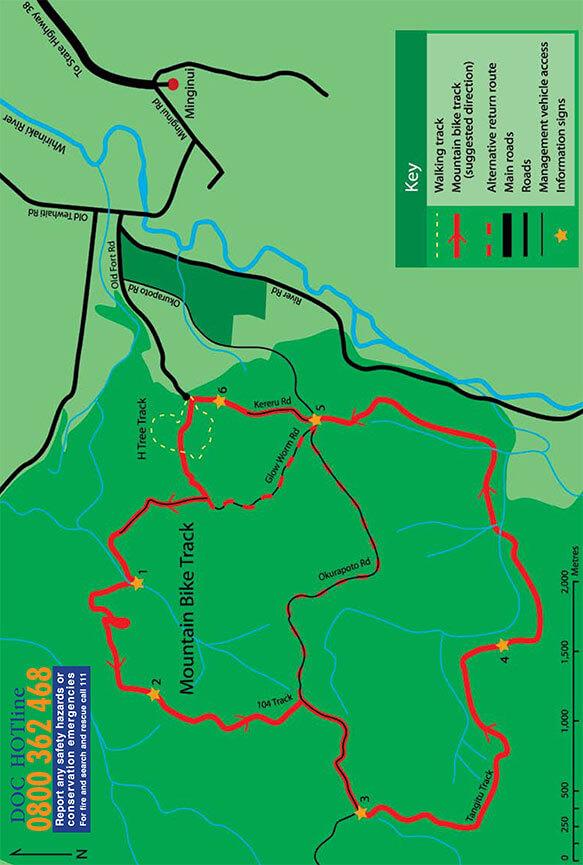 Whirinaki Forest Mountain Bike Track Mountain Biking Map