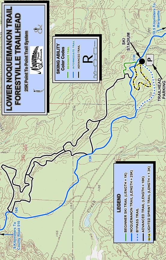 Lower Noquemanon Trail Cross Country Skiing Map