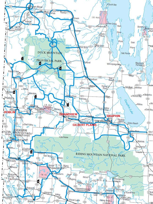 Gilbert Plains Snowmobiling Map