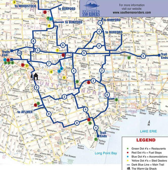 Delhi Snowmobiling Map