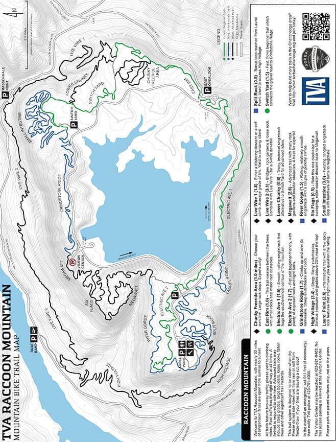Raccoon Mountain Mountain Biking Map