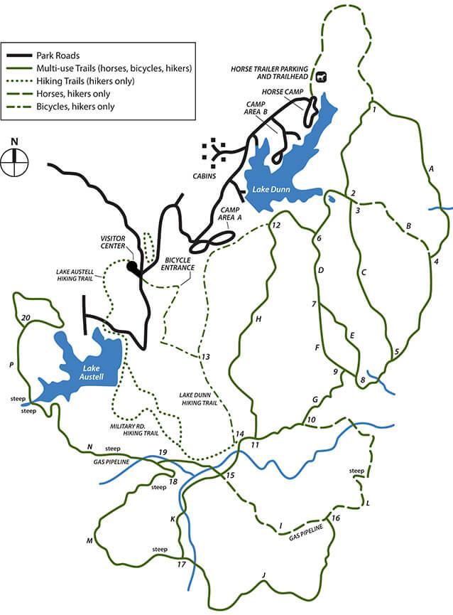 Village Creek State Park Mountain Biking Map