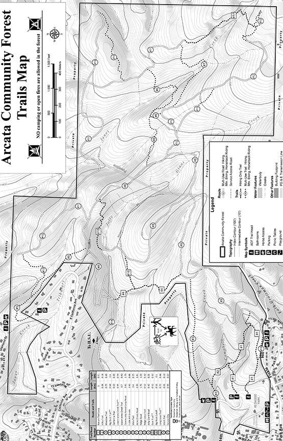 Arcata Community Forest Mountain Biking Map