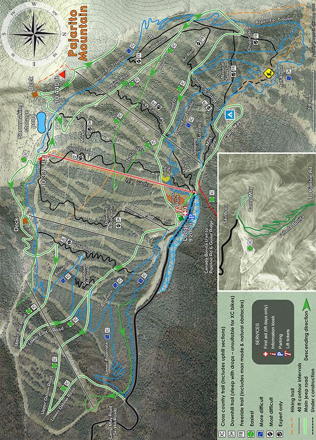 Pajarito Mountain Mountain Biking Map