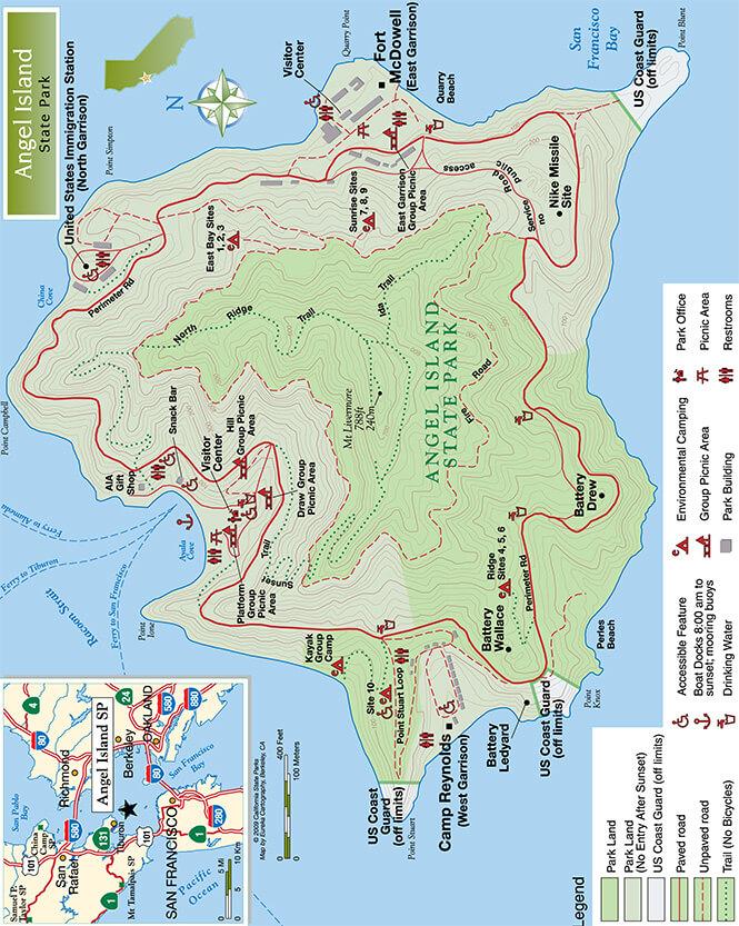 Angel Island State Park Hiking Map