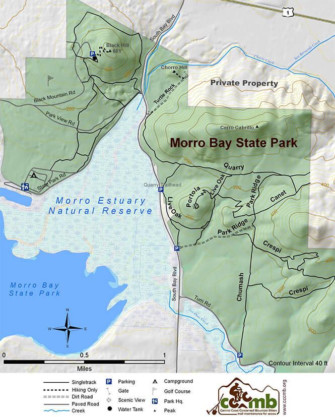 Morro Bay State Park Mountain Biking Map