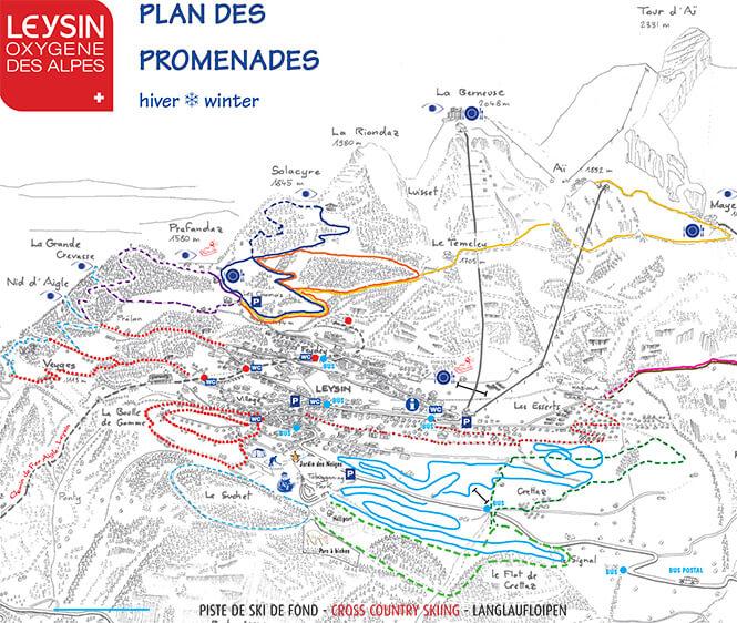 Leysin Cross Country Skiing Map