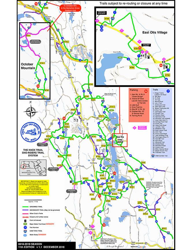 Otis Snowmobiling Map