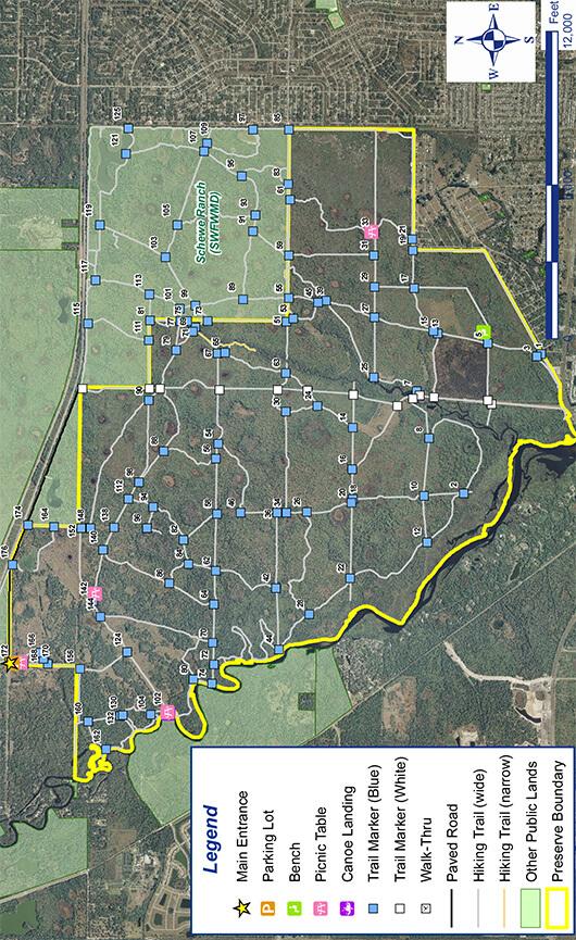 Deer Prairie Creek Preserve Hiking Map