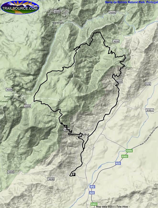 Serra da Estrela Natural Park Mountain Biking Map