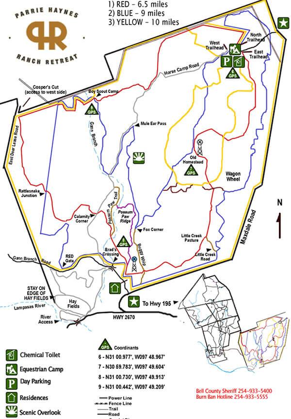 Parrie Haynes Ranch Horseback Riding Map