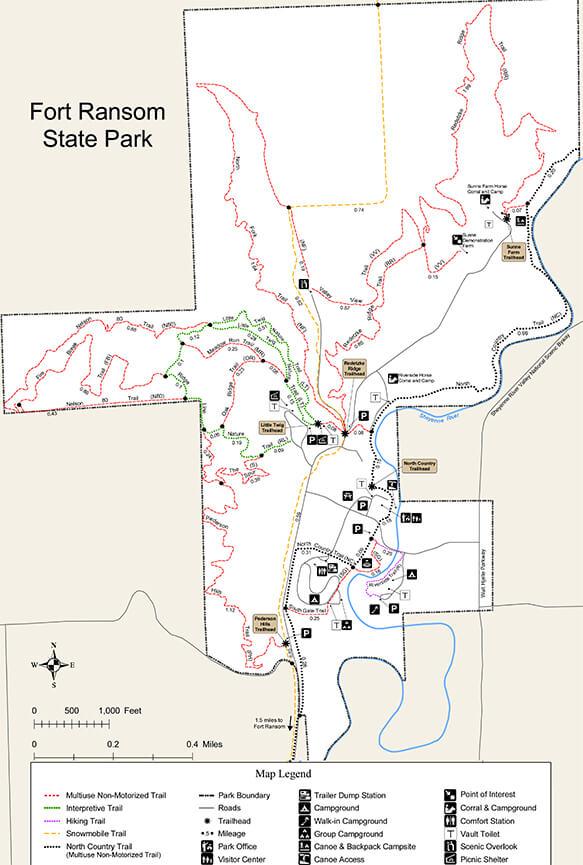 Fort Ransom State Park Mountain Biking Map