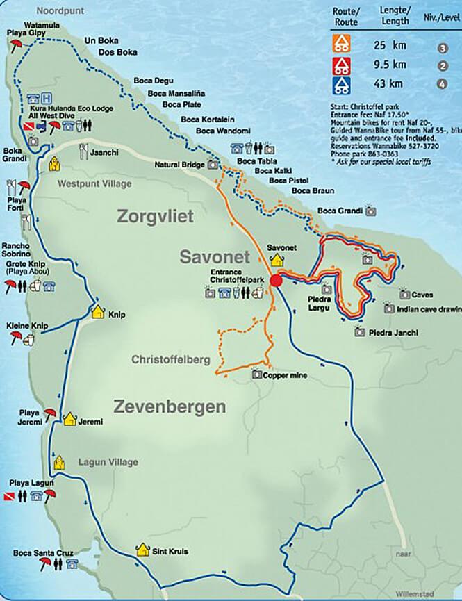 Christoffel Park Trail Mountain Biking Map