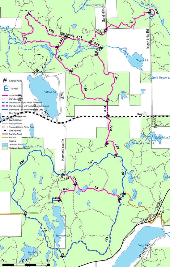 Dugan Run Horse Trail System Horseback Riding Map