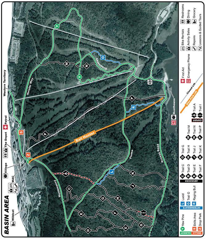 Snowshoe Bike Park Mountain Biking Map