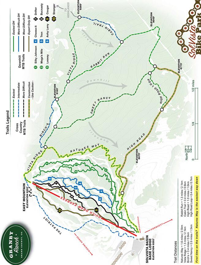 SolVista Bike Park Mountain Biking Map