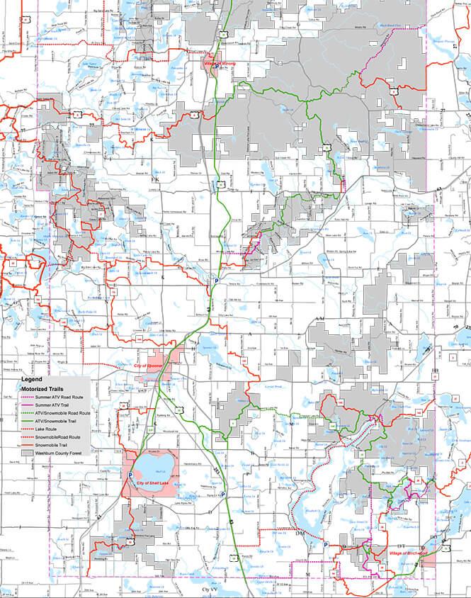 Washburn County Snowmobiling Map