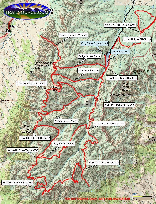 Paunsaugunt - Daves Hollow Loop ATV Trails Map