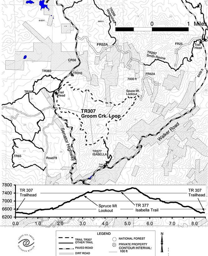 Groom Creek Loop Horseback Riding Map